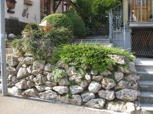 Mauer mit Wasserbausteinen